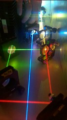 red, green, and blue lasers being adjusted
