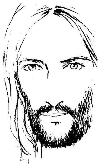 Jesus Christ Face Clip Art Sketch Coloring Page