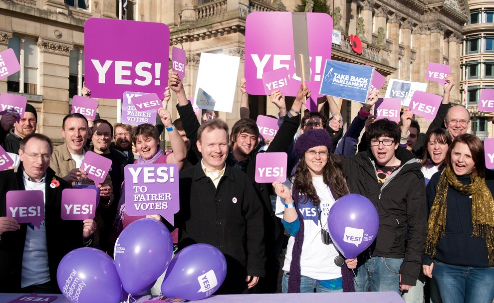 Birmingham 'Yes to Fairer Votes' Launch, 6th November 2010 - Victoria Square. (photographer: Charlotte Galpin).