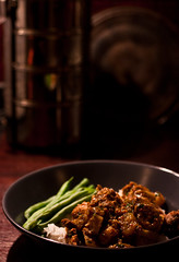 Pork Vindaloo with Rice and Green Beans
