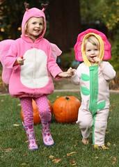 Claire and Juliet in their halloween costumes