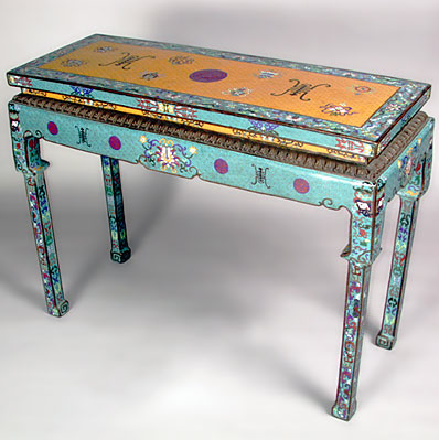 vintage chinese cloisonne console table