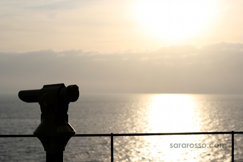 Telescope at sunset, Portofino, Italian Riviera, Italy