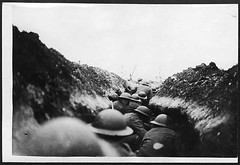 Infantry waiting to attack during World War I