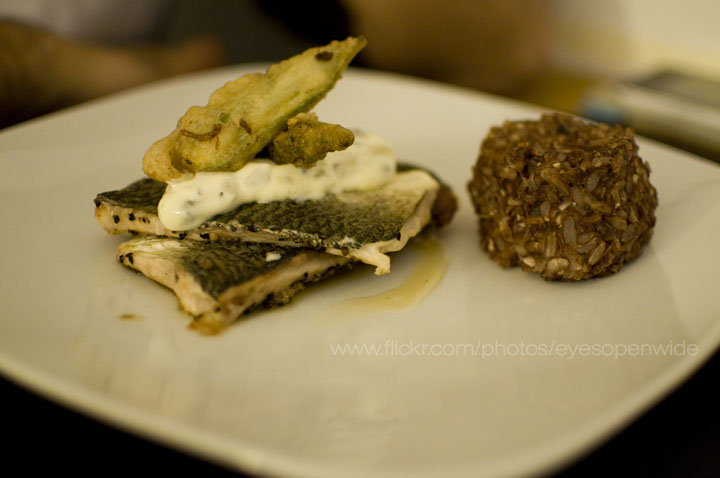 lake superior white fish with roasted garlic red rice cake, crispy okra, celery root remoulade