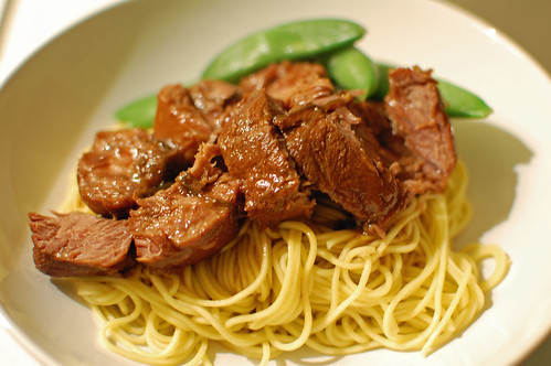 Red-Cooked Pig Cheeks on Noodles