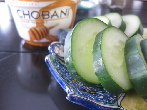Afternoon Snack of Honey Chobani and Cucumber