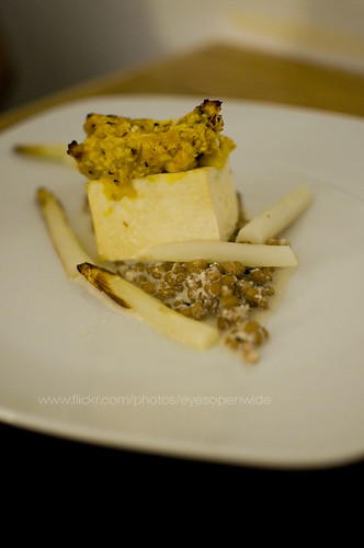 butternut squash crusted tofu with white asparagus barley risotto