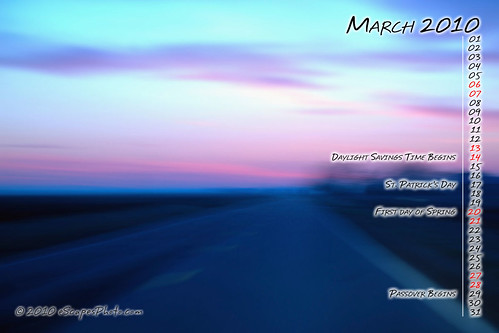 March 2010 Desktop Calendar