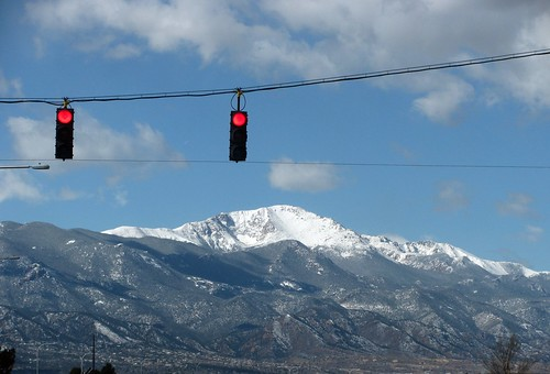Pikes Peak from stoplight