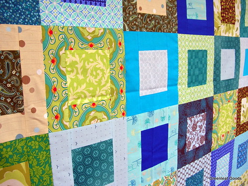 Detail of the green and blue quilt top