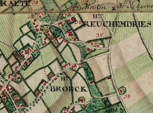 Broeck / Broek in Baeleghem / Balegem in de atlas Ferraris