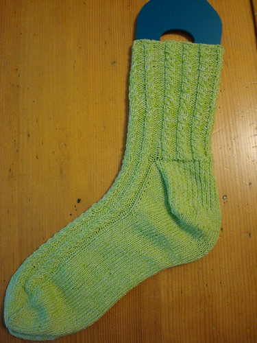 Tim's Green (!) Mock Cable Socks