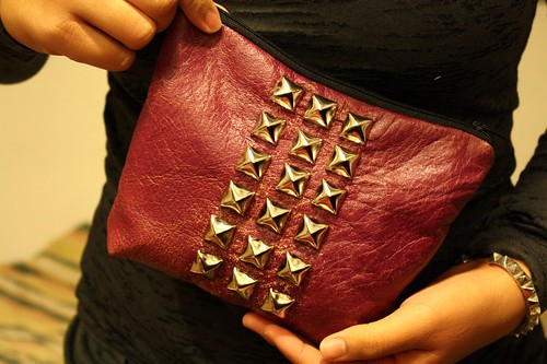 Studded Leather Zipper Pouch