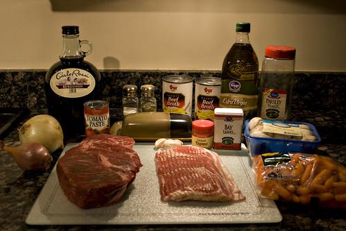 Ingredients for Beef Burgundy