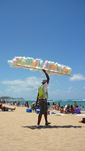 Selling cotton candy on the beach Escambrón, Puerto Rico