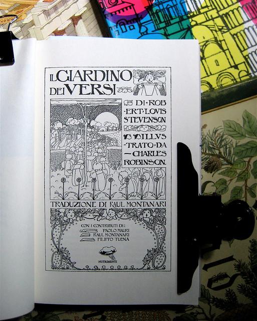 Robert Louis Stevenson, Il giardino dei versi, illustrato da Charles Robinson; art director: Ada Carpi, Nutrimenti 2010; frontespizio (part.), 1