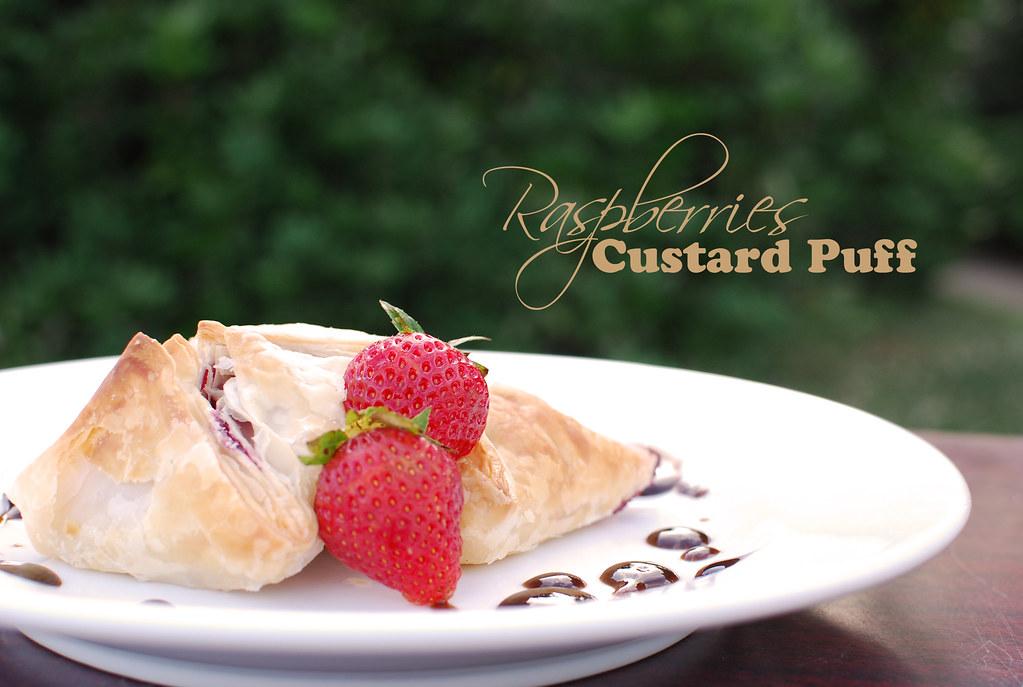 raspberries custard puff