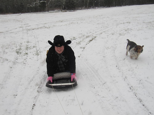 For the first time in a very long time, we had enough snow to go sledding!