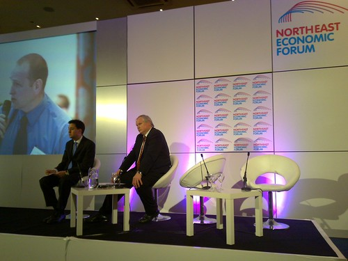 Energy Minister, Ed Milliband with Adam Boulton from Sky