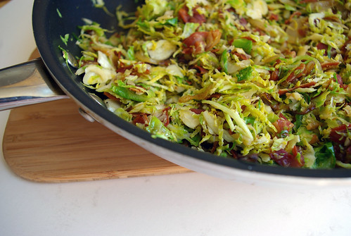 Sauteed sprouts and pancetta