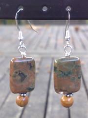 Rhyolite and tiger jasper earrings