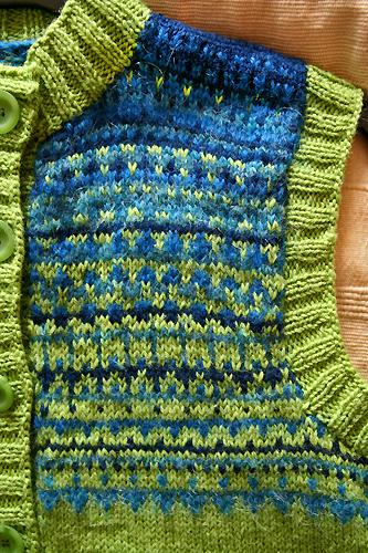 green-blue vest - detail