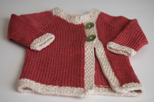 Baby E's coral cardigan (by bookgrl)