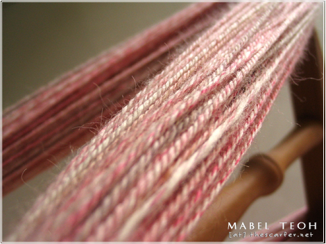 A close-up shot of the freshly plied and skeined yarn!