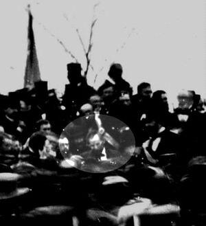 PRESIDENT LINCOLN AT GETTYSBURG, 1863