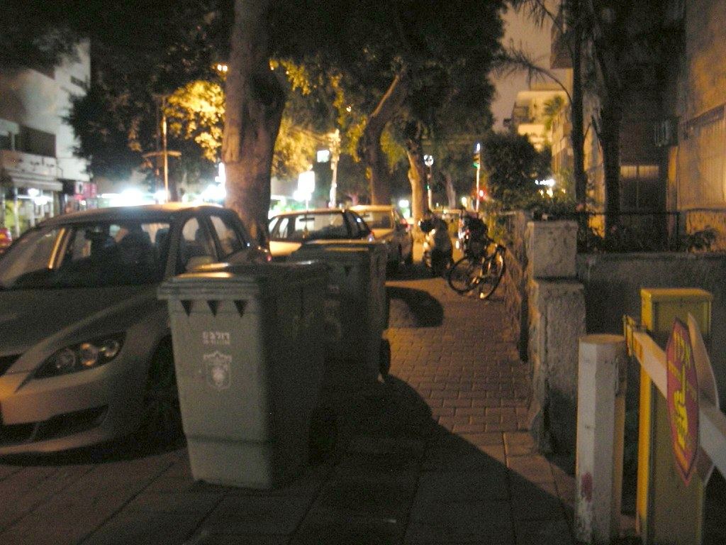 Sidewalk Parking at Night in Tel-Aviv