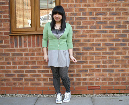 Green cardi and texture