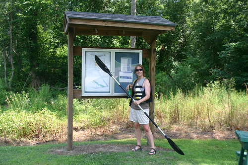 Paddling Perquiman County Blueway - Vicky at Trailhead (by Ryan Somma)