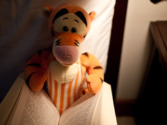 sporty tigger reading a book
