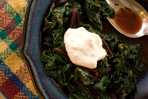 greens with yogurt