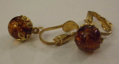 Vintage Earrings Crown Baubles Yellow small