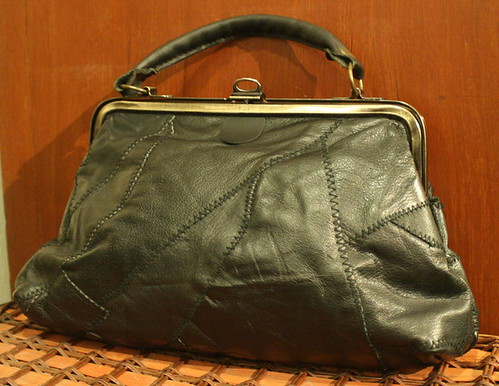 Vintage Handbag Black Patch Leather