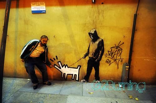 Banksy Keith Haring barking dog Southwark, London Oct 2010