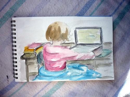 Doodle: Esther playing Starcraft