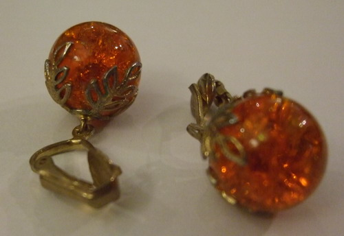 Vintage Earrings Crown Baubles Orange