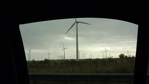 La Muela, Aragón and its wind turbines seen from the car window