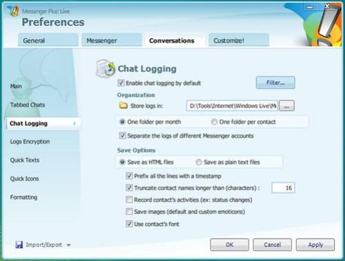 Messenger Plus: Chat Logging Preferences