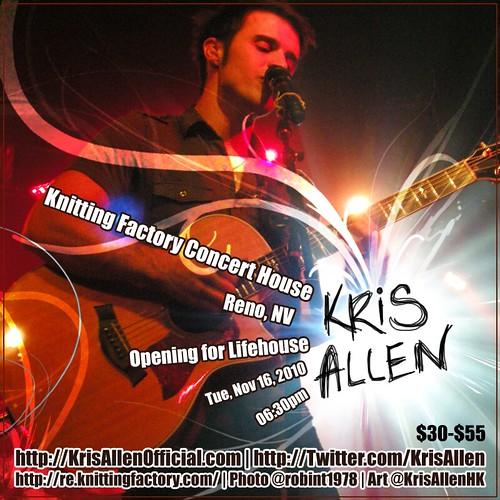 Kris Allen Promo Art – Knitting Factory, Reno, NV