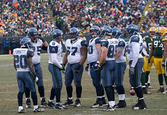 Seattle Seahawks huddle