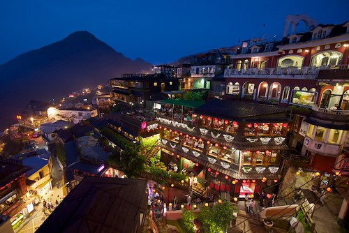 A scenic of Jiufen, Taiwan and its tea houses.
