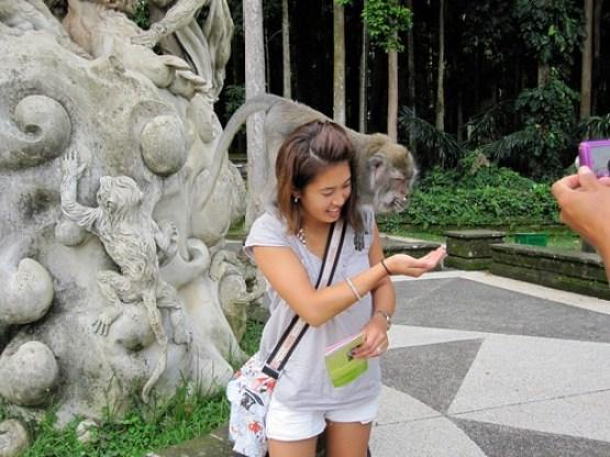 Kristy Feeding the Monkey
