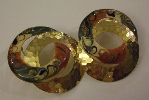 Vintage Earrings Swirly Circles