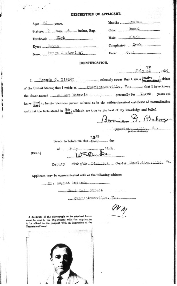 Gus Matacia's Passport App 1924b