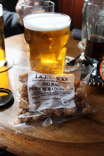 Pork scratchings and a pint of beer