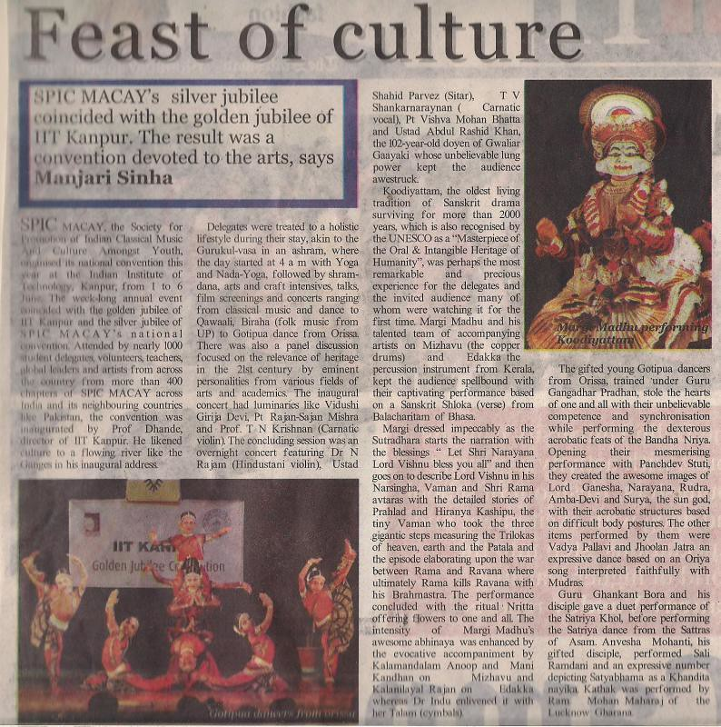 Manjari Sinha on SPIC MACAY Convention in The Statesman